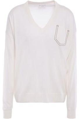 Brunello Cucinelli Bead-embellished Melange Cashmere, Silk And Hemp Sweater