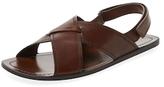 Prada Leather Crisscross Sandal