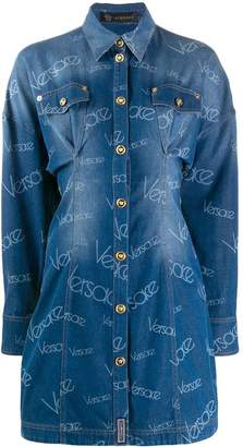 Versace denim panelled shirt dress