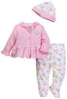 Little Me Floral Cardigan, Footed Legging, & Hat Set (Baby Girls)