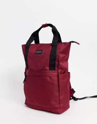Asos Design DESIGN backpack in burgundy with grab handle-Red