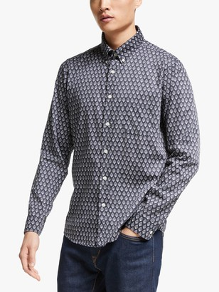 Far Afield Mod Button Down Long Sleeve Shirt, Navy