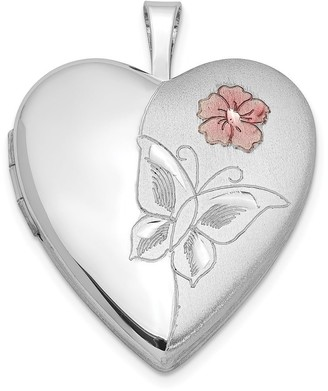 Sterling Silver Rhodium-plated Enameled Flower Butterfly Heart Locket with 18-inch Cable Chain By Versil