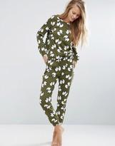 Asos 100% Cotton All Over Eyes Long Sleeve Tee & Jogger Pajama Set
