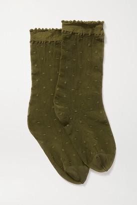 Falke Dot 15 Denier Point D'esprit Socks - Green