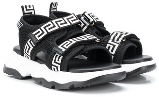 Versace Logo-Band Touch Strap Sandals