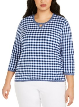 Alfred Dunner Plus Size Easy Street Gingham Sweater