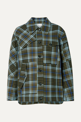 Tibi Spencer Checked Woven Jacket - Army green