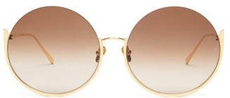 Linda Farrow Olivia Round Gold-plated Sunglasses - Womens - Brown Gold