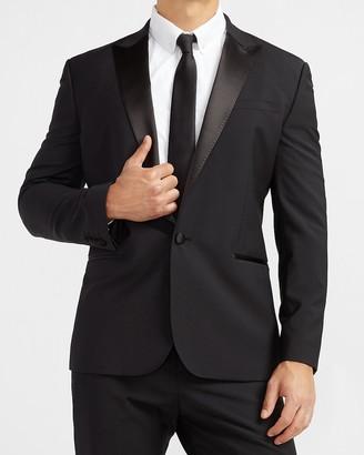 Express Classic Solid Black Wool-Blend Tuxedo Jacket