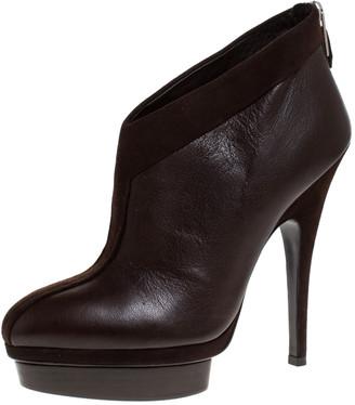 Saint Laurent Paris Brown Leather And Suede Trim Platform Booties Size 39.5