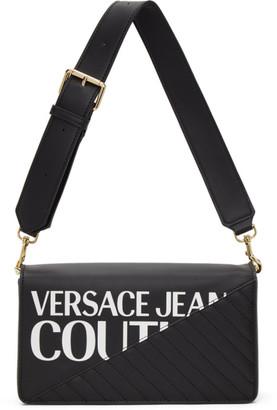 Versace Jeans Couture Black Faux-Leather Logo Shoulder Bag