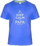 Eagle u2 Men's Keep Calm and Papa Will Fix It custom T shirts darkBlue