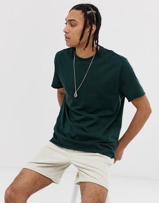 Asos DESIGN organic heavyweight t-shirt with crew neck & raw edges in green