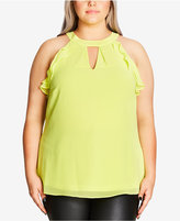 City Chic Plus Size Ruffled Halter Top