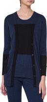 Akris Punto Long Colorblock Wool Cardigan, Blue Pattern