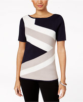 Charter Club Colorblocked Short-Sleeve Sweater, Created for Macy's
