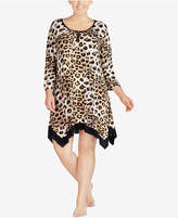 Ellen Tracy Plus Size Printed Jagged-Hem Nightgown