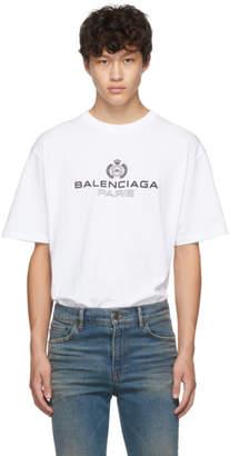 Balenciaga White Paris Laurel Regular Fit T-Shirt