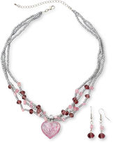 JCPenney Pink Swirl Glass Heart Pendant Necklace & Bead Drop Earrings Boxed Set