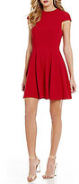 Teeze Me Cap-Sleeve Textured Skater Dress
