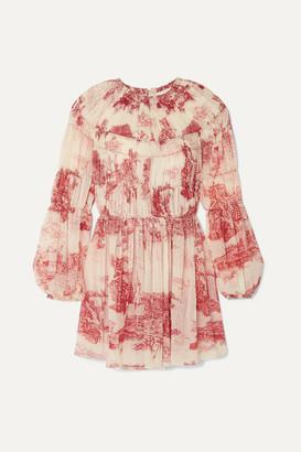 Chloé Pleated Printed Silk-chiffon Mini Dress - Cream