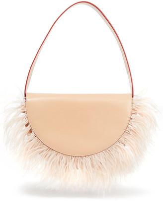 STAUD Amal Feather-embellished Leather Shoulder Bag