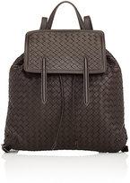 Bottega Veneta Women's Intrecciato Flap Backpack-DARK BROWN