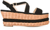 Paloma Barceló wedge sandals - women - Suede/Straw/rubber - 36