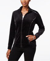 Karen Scott Petite Velour Printed-Trim Mock-Neck Jacket, Only at Macy's