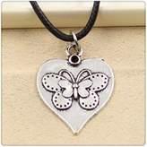 Nobrand No brand Fashion Tibetan Silver Pendant heart butterfly Necklace Choker Charm Black Leather Cord Handmade Jewlery