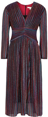 Jonathan Simkhai Striped Metallic-knit Plisse Midi Dress