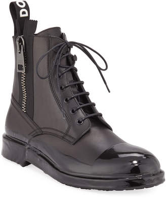Dolce & Gabbana Men's Cap-Toe Leather Combat Boots
