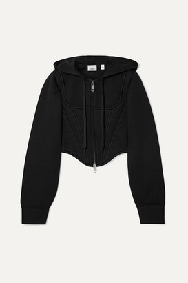 Burberry Cropped Paneled Modal-neoprene Hoodie - Black