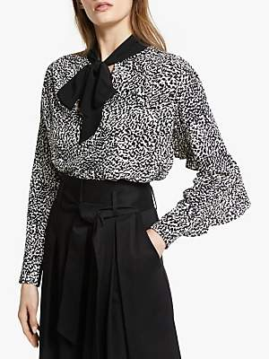 1fd2c99cd3ff Somerset by Alice Temperley Micro Leopard Print Tie Neck Blouse, Shell