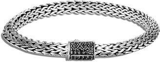 John Hardy Tiga Chain Bracelet w/ Black Sapphire Clasp, Size S-L