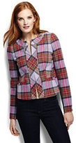 Lands' End Women's Plaid Femme Jacket-Deep Blue Teal Floral