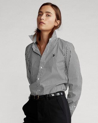Polo Ralph Lauren Women's Black Shirts & Blouses - Georgia Slim Long Sleeve Shirt - Size 4 at The Iconic