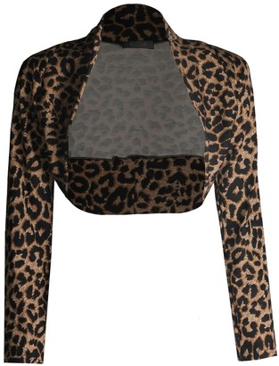 Unknown Fast Fashion Women's Shrug Long Sleeve Leopard Printed Short - Brown - 18