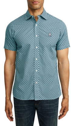 Psycho Bunny Glengall Short Sleeve Pima Cotton Button-Up Shirt