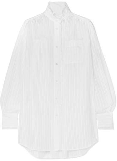 Sonia Rykiel Lace-trimmed Cotton-sateen Shirt - White