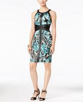 Thalia Sodi Faux-Leather-Trim Sheath Dress, Only at Macy's