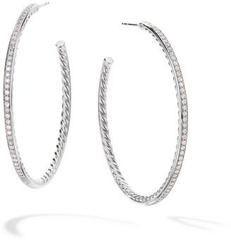 David Yurman Large Hoop Earrings With Pave Diamonds