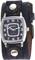 Nemesis #NFB017K Men's Vintage Square Collection Charcoal Wide Leather Band Watch