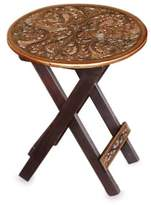 Hardwood Round Folding Table with Handtooled Leather, 'Andean Birds'