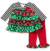 Bonnie Jean Bonnie Baby Baby Girls Newborn-24 Months Christmas Mixed-Print Tiered Dress & Ruffle-Hem Leggings Set