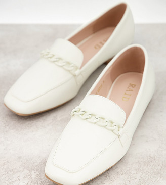 Raid Wide Fit Artie loafers with colour drenched trim in white