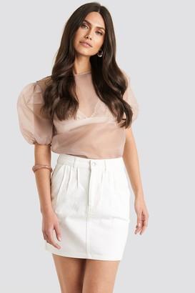 NA-KD Front Pleat Short Denim Skirt Black
