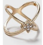 Dorothy Perkins Womens Rhinestone Cross Over Ring- Clear