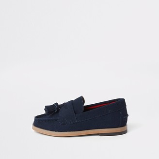 River Island Mini boys Navy tassel loafers